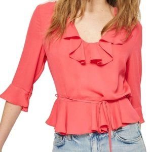 TopShop Ruffle Neck Peplum Coral Top Size 6 NWT